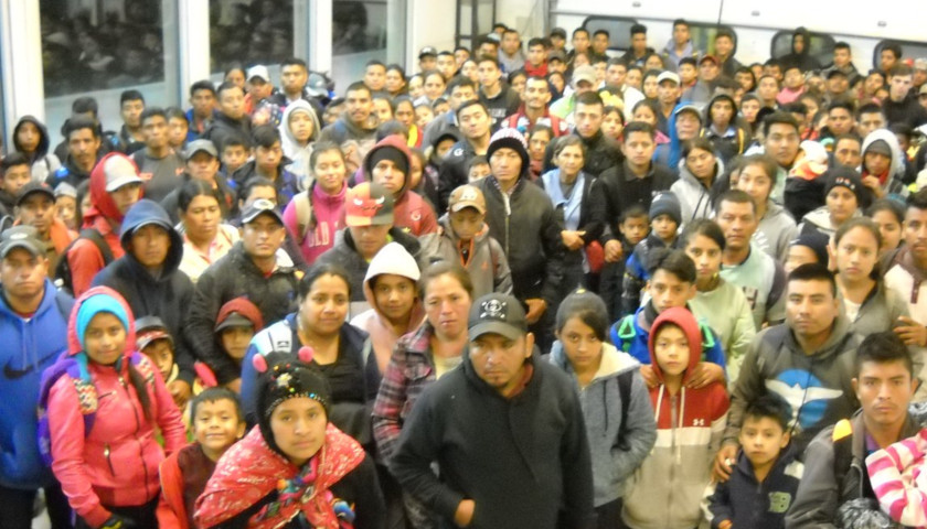Crowd of immigrants