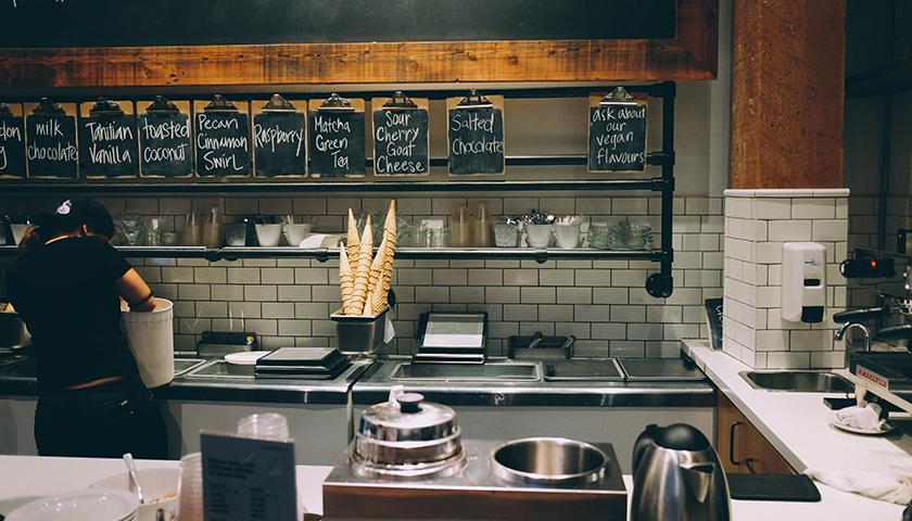 Local icecream shop with chalkboard menu
