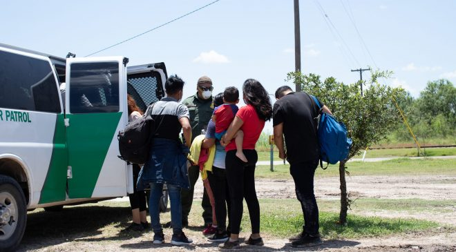 A group of migrants turned themselves in to Customs and Border Protection officials to be processed in hopes of applying for asylum near La Joya, Texas, on August 7, 2021. (Kaylee Greenlee – Daily Caller News Foundation)