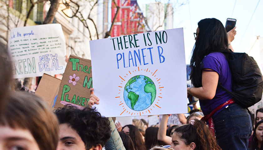 """""""There's no planet B"""" sign"""